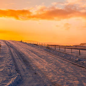 Country road by Edvald Geirsson - Landscapes Sunsets & Sunrises ( countryside, fludir, iceland, winter, cold, sunset, snow, road )