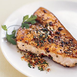 Pan-Roasted Swordfish Steaks with Mixed-Peppercorn Butter.