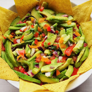 Chunky Bell Pepper Guacamole Salad.