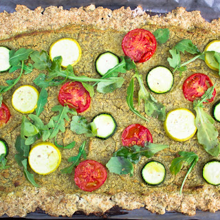 Vegan Cauliflower Flatbread Pizza with Cashew Pesto