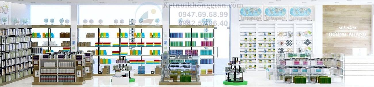 thiết kế nhà sách đa dạng về nội thất