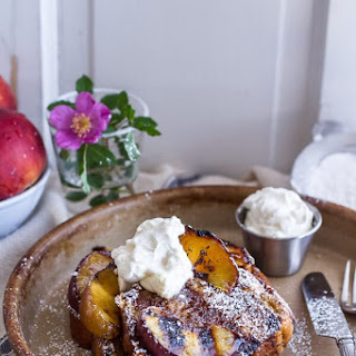 Brown Sugar + Kahlúa Grilled Peaches and Cream French Toast..