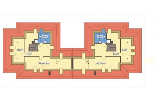 Akacja II bliźniak wersja B z pojedynczym garażem - Rzut poddasza
