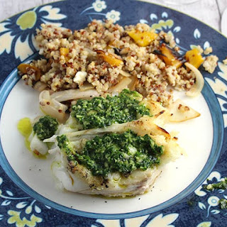 Grilled Halibut with Parsley Pesto.