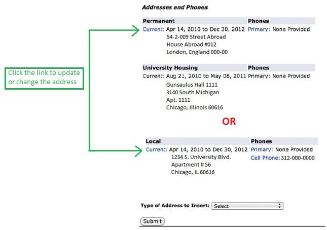My Homepage Student Address Phone