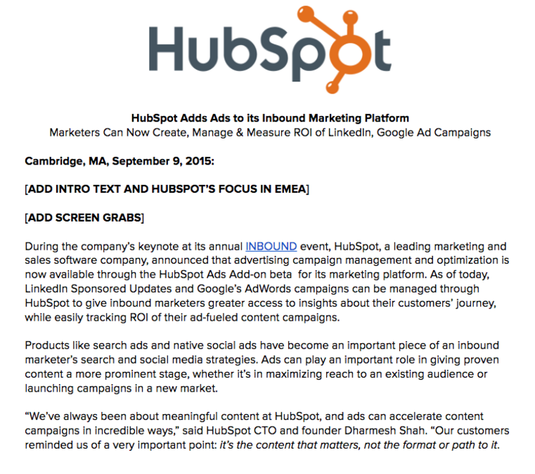 hubspot pre-product press release