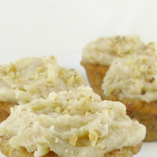 Mini Banana Muffins with Toasted Walnut Buttercream