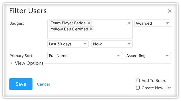 Filtering Options for Badges