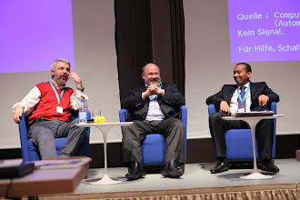 """Photo: Final panel discussion """"Latest Trends for Comms Consultancies"""" 2012 - G. Catalfamo, S. Zverev, M. Al Ayed"""