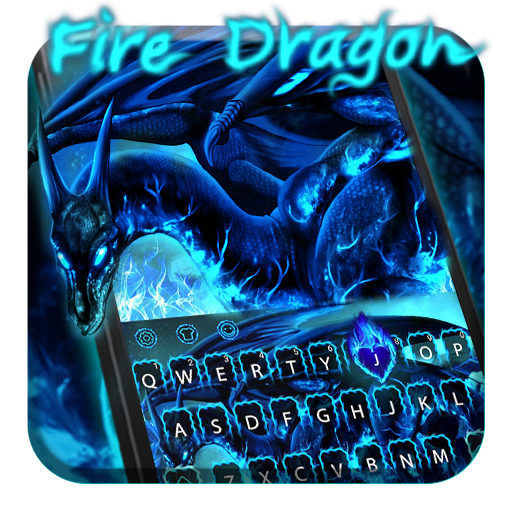 Blue Fire Dragon Keyboard