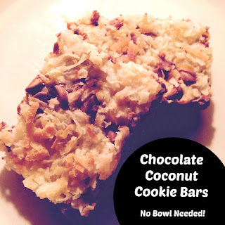 Chocolate Coconut Cookie Bars - No Bowl Needed!!