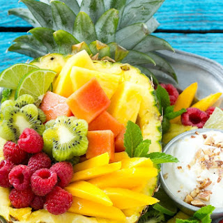 Tropical Fruit Salad with Coconut Almond Dip.
