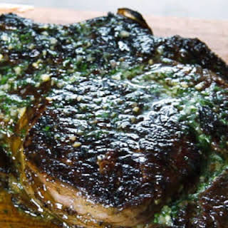 Grilled Ribeye Steak with Parsley-Shallot Butter.