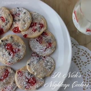 St. Nick's Nightcap Cookies - Cherry Amaretto Chocolate Chip Cookies