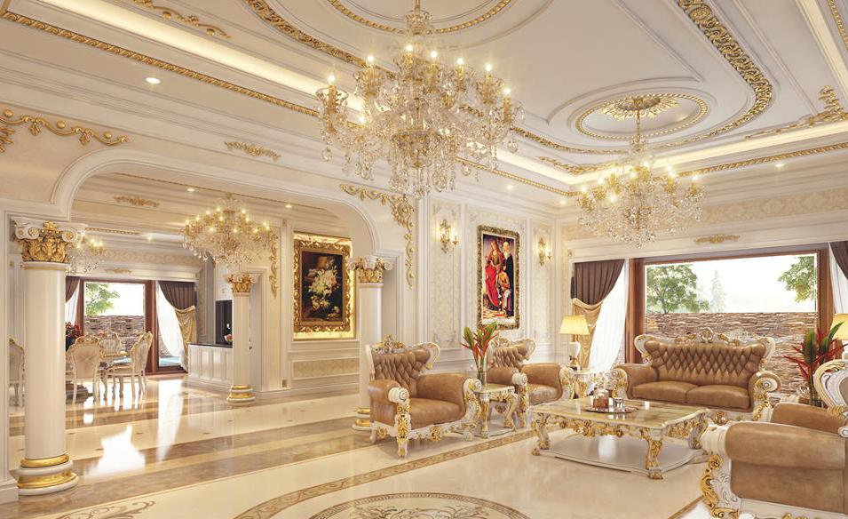 Phòng khách tân cổ điển với thiết kế sang trọng
