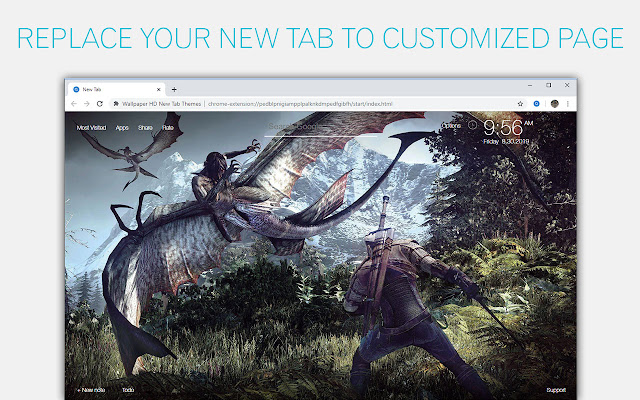 The Witcher 3 Custom New Tab by freeaddon.com
