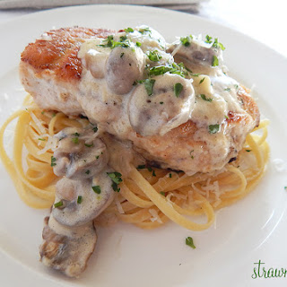 Chicken with Creamy Mushroom Sauce and Parmesan Linguini
