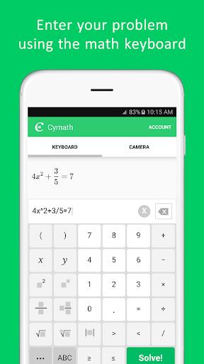 Cymath - Math Problem Solver Screenshot