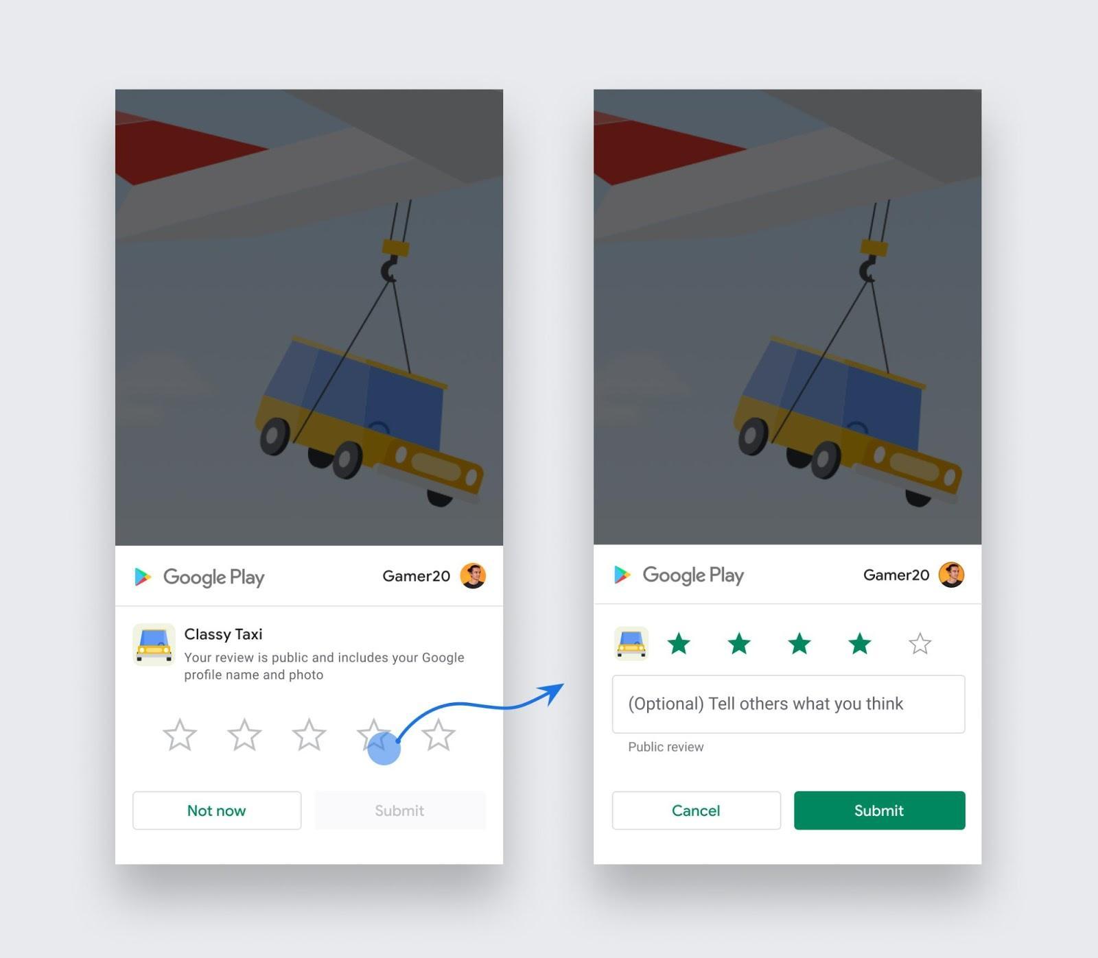 User ratings for app image
