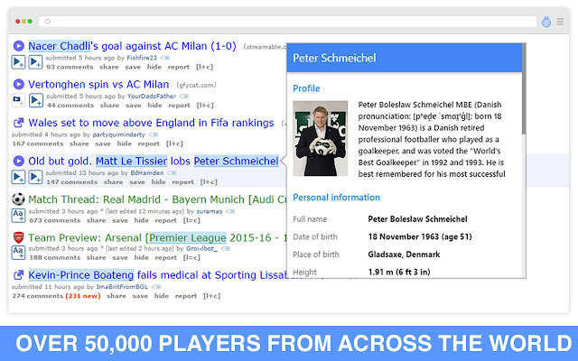Player Card chrome extension