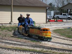 Photo: Chris Schieck and David Hannah on Hannah's loco.  HALS 2009-0228