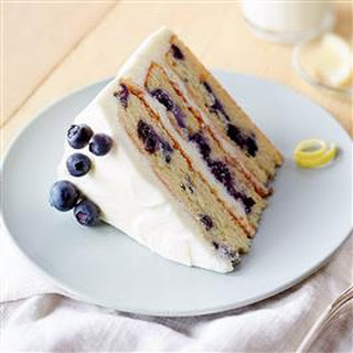 Buttercream-Frosted Lemon Blueberry Layer Cake.