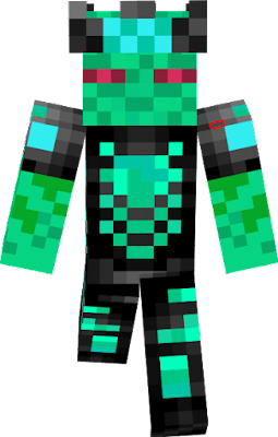 green blueish alien enderman king with exo suit