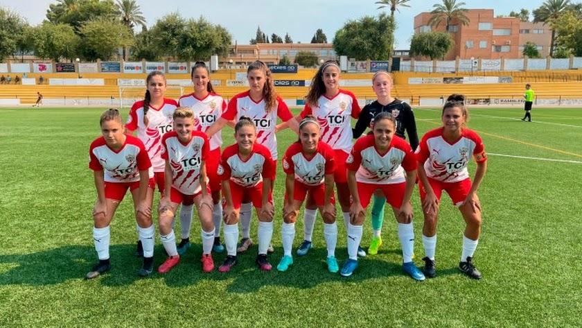 El once del Almería Femenino en su visita a La Rambla.