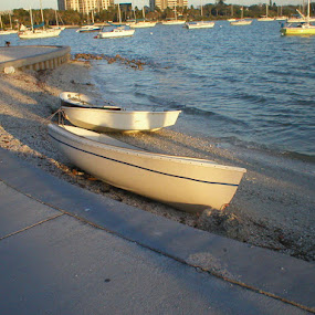 Boats On The Bay by Jackie Sleter - Travel Locations Landmarks ( water, park, florida, boats, beach )