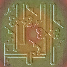"Photo: Spiritual Series: Praise II (2001)  Digital Print/ Mixed Media  الحمد لله بالخط الكوفي المظفر  ""alHamdu-lillah""  ""Praise be to God""  Arabic Calligraphic Composition (Knotted Kufic Style)"