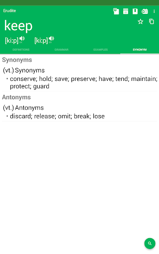 Screenshot for Dictionary : Word Definitions & Examples - Erudite in Hong Kong Play Store
