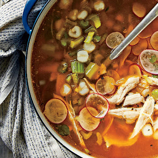 Green Chile-Turkey Soup with Hominy.