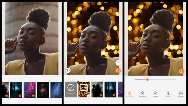 Montagem de uma mulher negra posando mostrando a ferramenta Fundo do AirBrush.