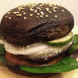 Portobello Eggplant Burger with Cauliflower Cashew Cheese [Vegan]