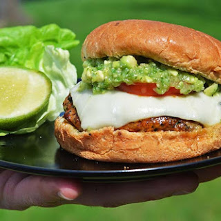 Mexican Pork Burgers with Tomatillo-Avocado Salsa