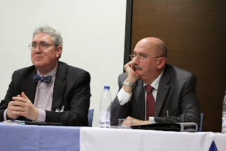 Photo: Carlos Hawley and Paul Larson at the Madrid conference of the Medieval Association of the Midwest (January 23, 2015).