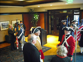 Photo: President General joins the assembly of Combine Color Guard of Great Lakes District west entrance of the Amway Grand Plaza