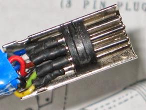 Photo: en gros plan même principe que pour les fiches rotors soudures et gaines thermo rétractable