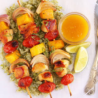 Mango and Chicken Kabobs with Green Tomatillo Rice.