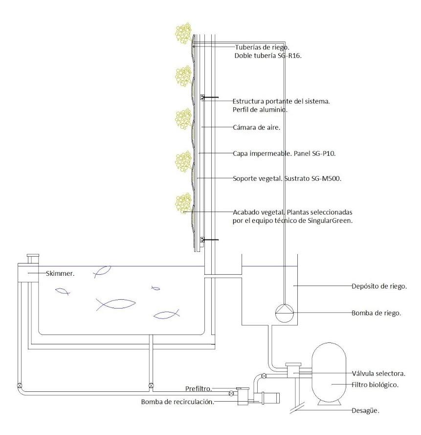 Esquema jardín vertical acuapónico