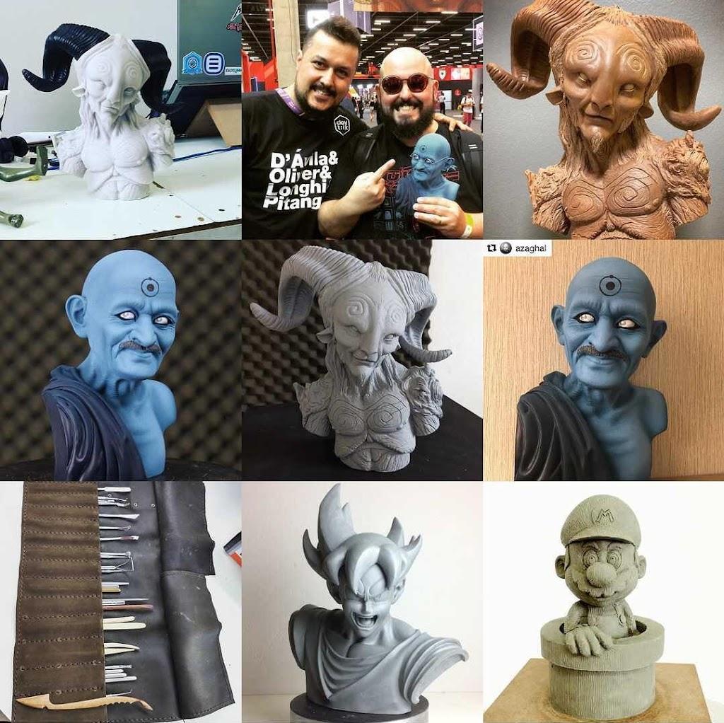 Claytrix - Workshop de Escultura Para Iniciantes - Mosaico de Esculturas criadas pela Claytrix - CCXP SP 2017 - Escultura feita para Azaghal do Jovem Nerd