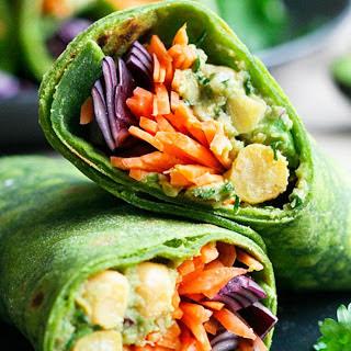 Avocado and Chickpea Spinach Wraps [Vegan].