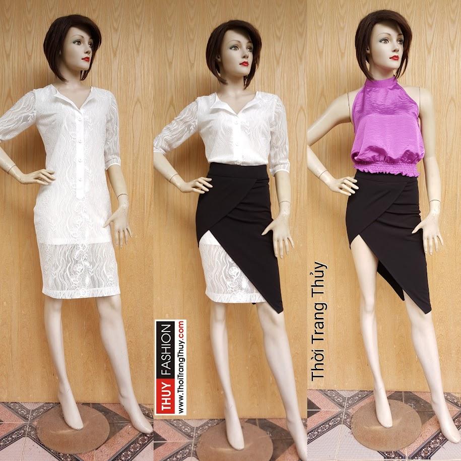 Chân váy xẻ tà vạt chéo kết hợp với áo váy V476 tại Thời Trang Thủy