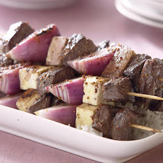 Beef, Onion and Haloumi Kebabs.