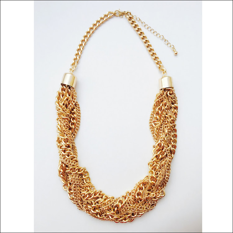 N040 - G. Intertwined Cluster goldtone chain Necklace by House of LaBelleD.