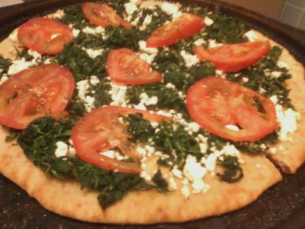 Spinach Feta Tomato On Garlic Flatbread