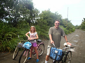 Photo: Mark and Genevieve on the road outside Puerto Jimenez