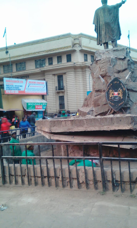 Nairobi county workers cleaning the area occupied by statue of Tom Mboya on Wednesday 26, 2019.