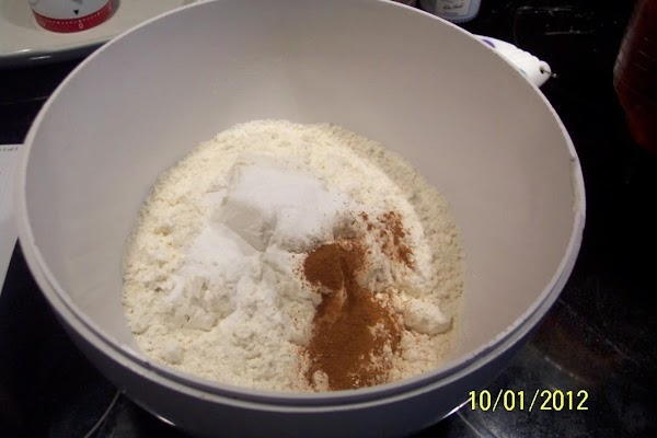 Next morning, combine  flour, baking soda, salt, and nutmeg in a large bowl.
