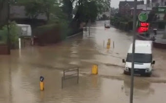 Welshpool hit by freak floods after thunder storm